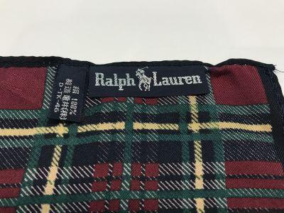 Ralph Lauren シルクスカーフ 花柄×チェック 03